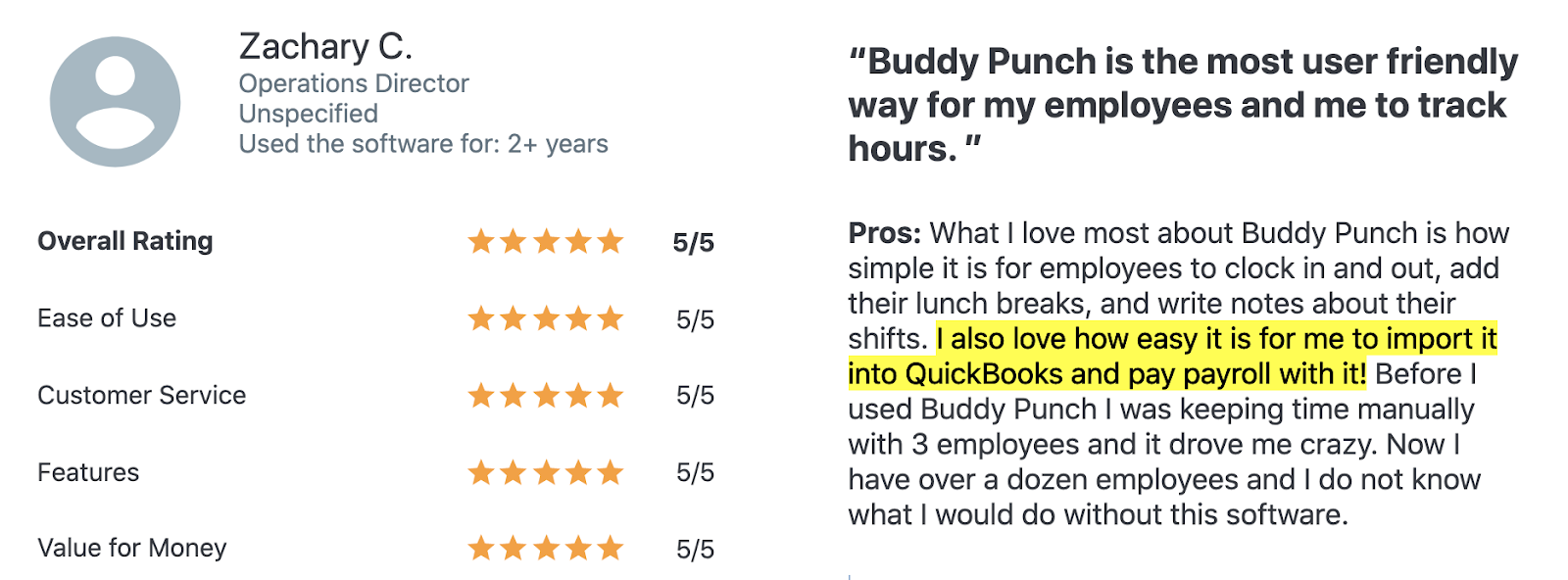 """Buddy Punch review: """"Buddy Punch is the most user friendly way for my employees and me to track hours."""""""