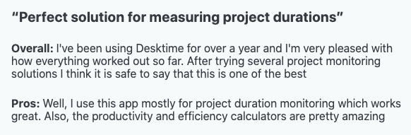 """""""Perfect solution for measuring project duration"""" - Review"""
