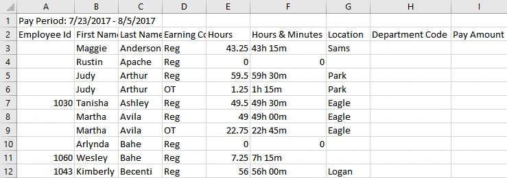 Excel Weekly Time Sheet Export with Buddy Punch