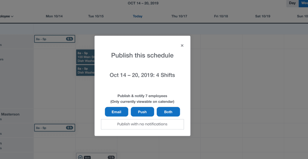 Example of the option to notify employees when a schedule is published